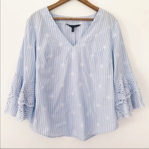 WHBM Embroidered Bell Sleeve Striped Blouse